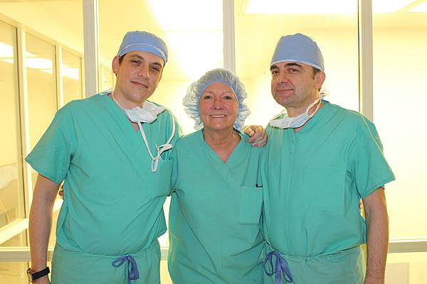 Dr. Rumer with Dr. Miroslav Djordjevic (R) and Dr. Djordjevic's assistant, Dr. Borko Stojanovic (L) after performing several MLD Phalloplasty surgeries at Hahnemann University Hospital in February 2019.